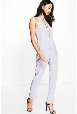 Kim Deep Plunge Strappy Choker Jumpsuit