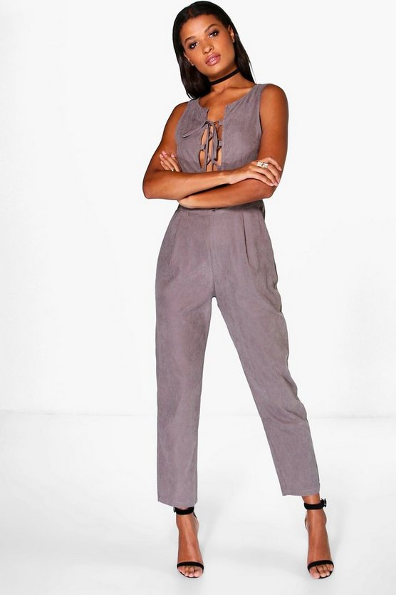Eva Lace Up Suedette Jumpsuit