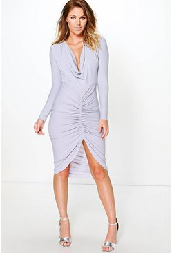 Carmen Long Sleeved Cowl Neck Midi Dress