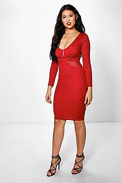 Yasmin Long Sleeve Mesh Midi Dress