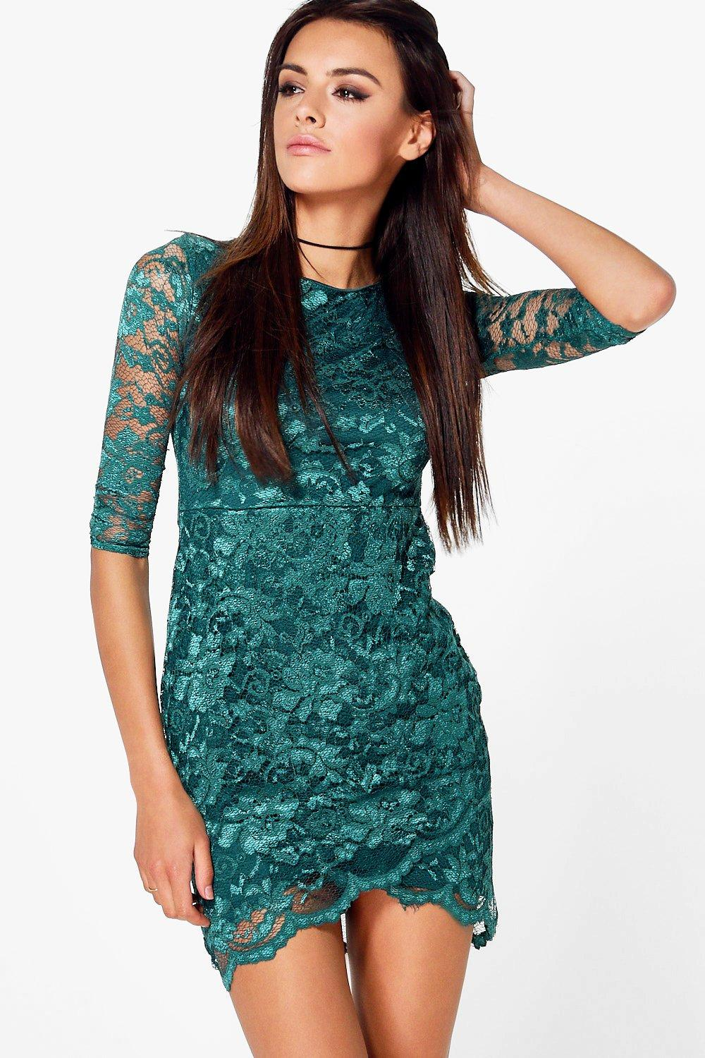Teresa Wrap Over Lace Bodycon Dress