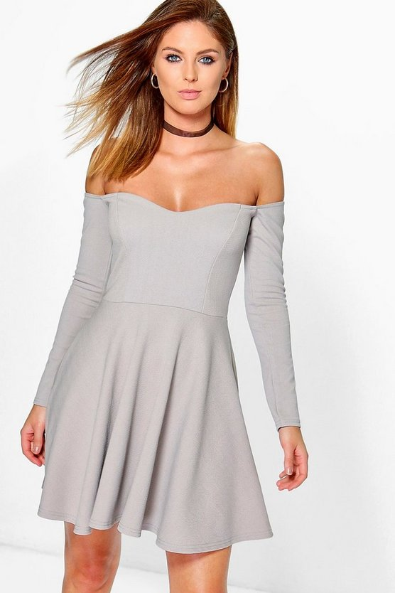 Trixie Off Shoulder Skater Dress