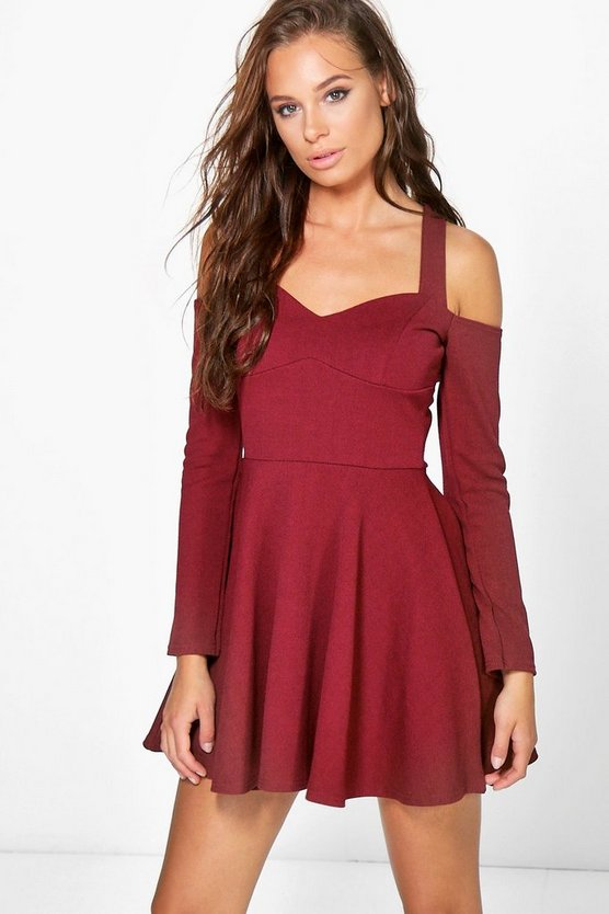 Verena Open Shoulder Skater Dress