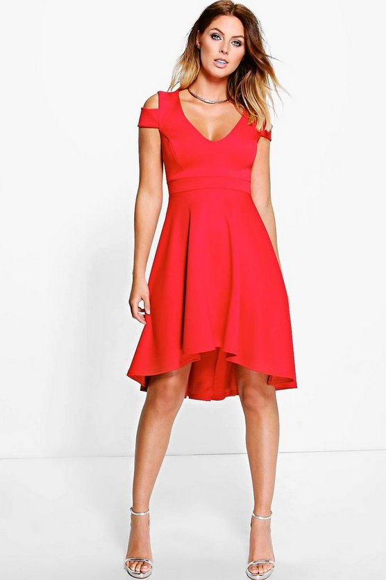 Clea Bardot Plunge High Skater Dress