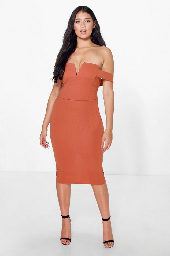 Cara Bardot Midi Bodycon Dress