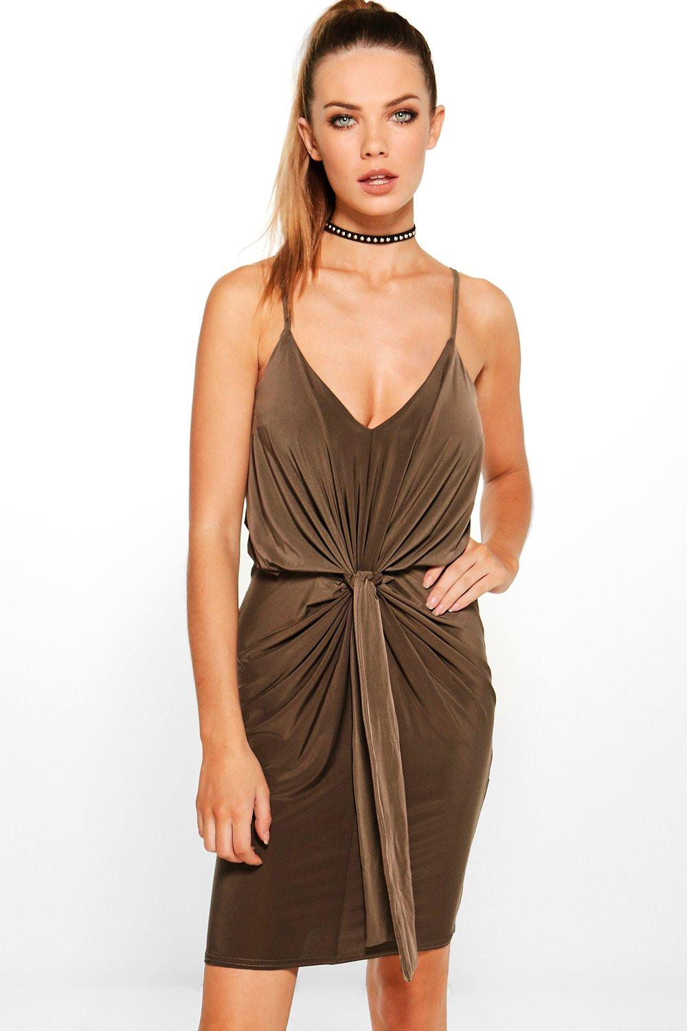Davisa Slinky Knot Detail Bodycon Dress
