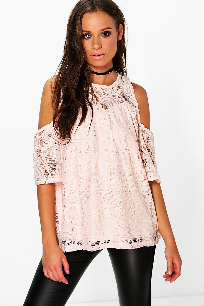Bella Lace Cold Shoulder Top