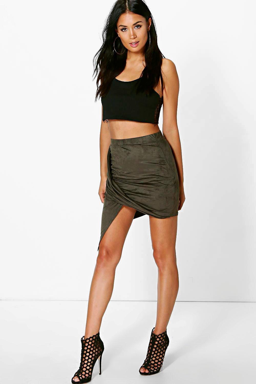 Asymetric Drape Suedette Mini Skirt  khaki