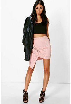 Cate Asymetric Drape Suedette Mini Skirt