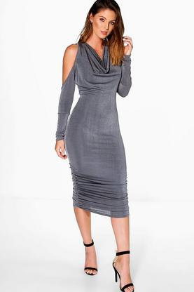 Kalani Cowl Neck Cold Shoulder Midi Dress