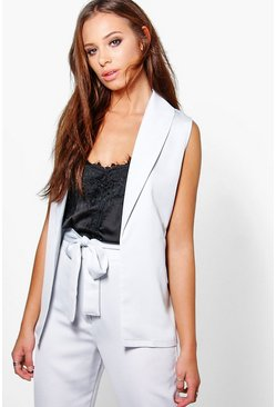 Frances Sleeveless Satin Blazer