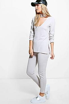 Amy Rib Knit Choker Loungewear Set