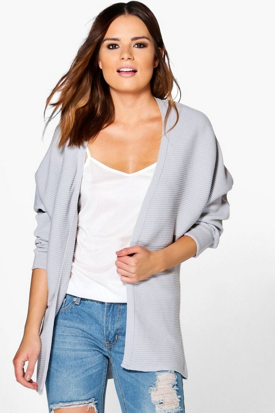 Keira Rib Knit Edge To Edge Batwing Cardigan