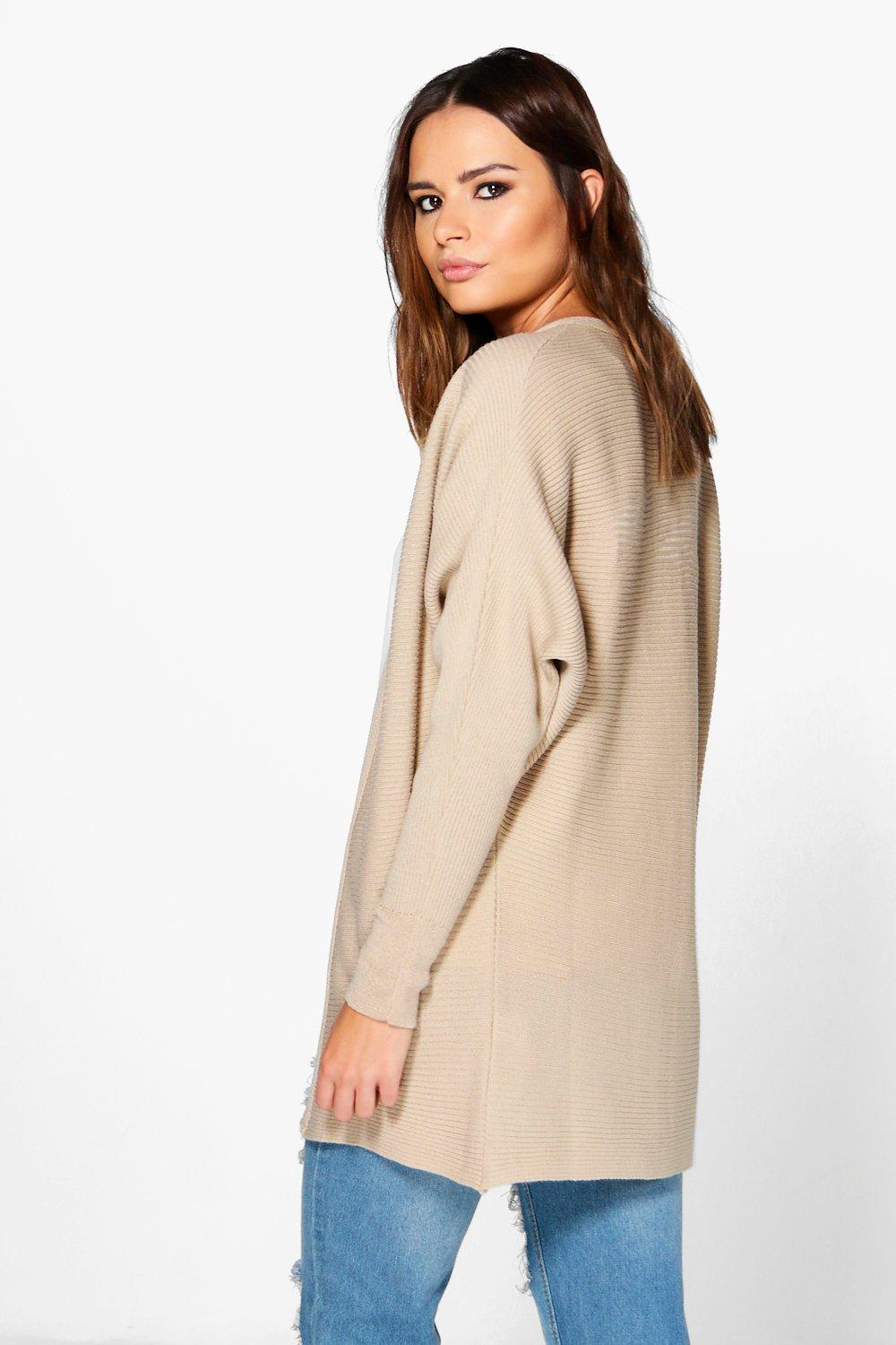 Boohoo Womens Keira Rib Knit Edge To Edge Batwing Cardigan