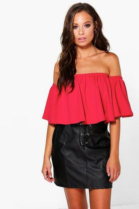 Lacey Flared Sleeve Bardot Top