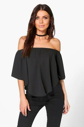 Zoe Double Layer Curved Hem Bardot