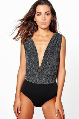 Maya Metallic Plunge V Back Bodysuit