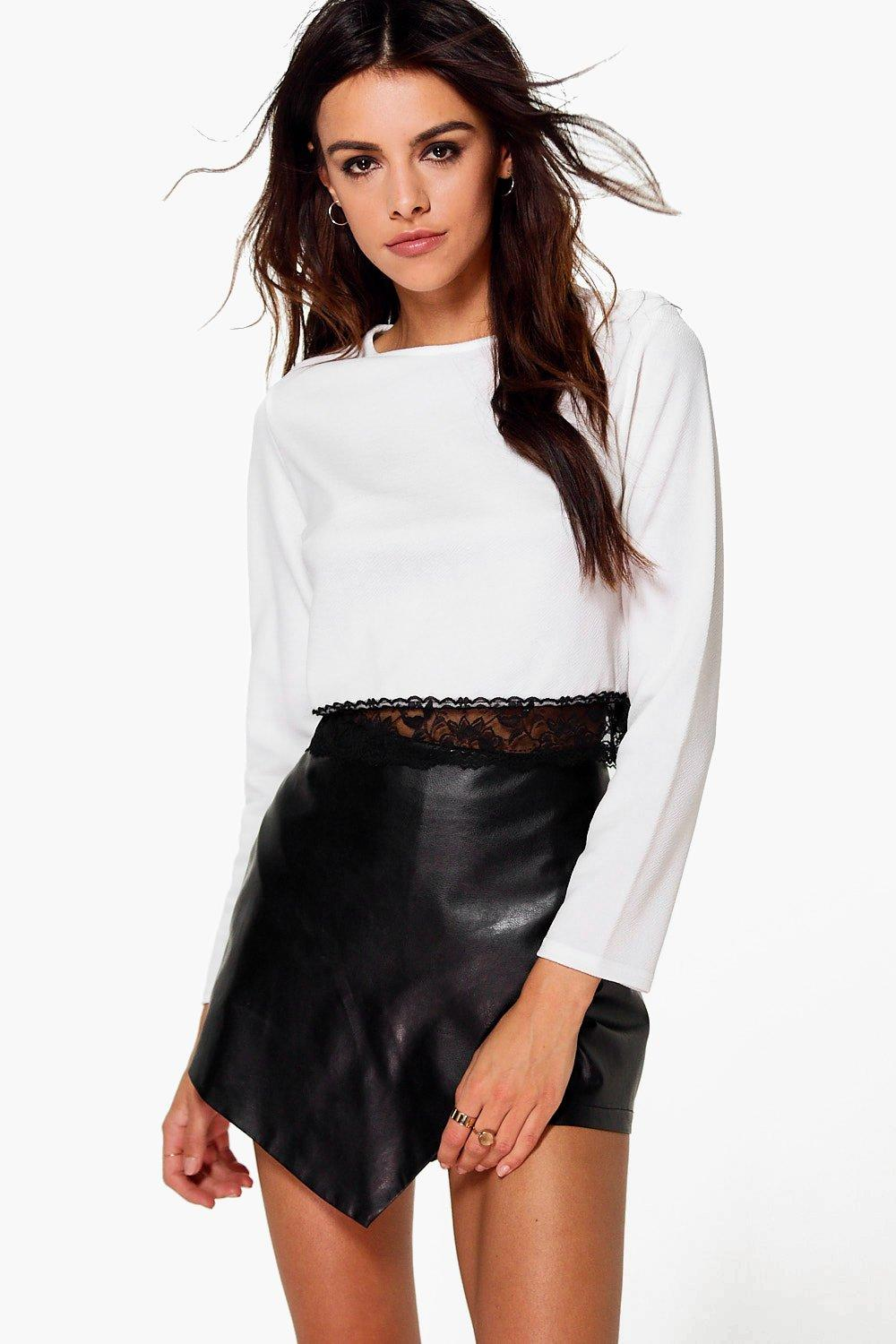 Annabelle Long Sleeve Lace Trim Crop Top