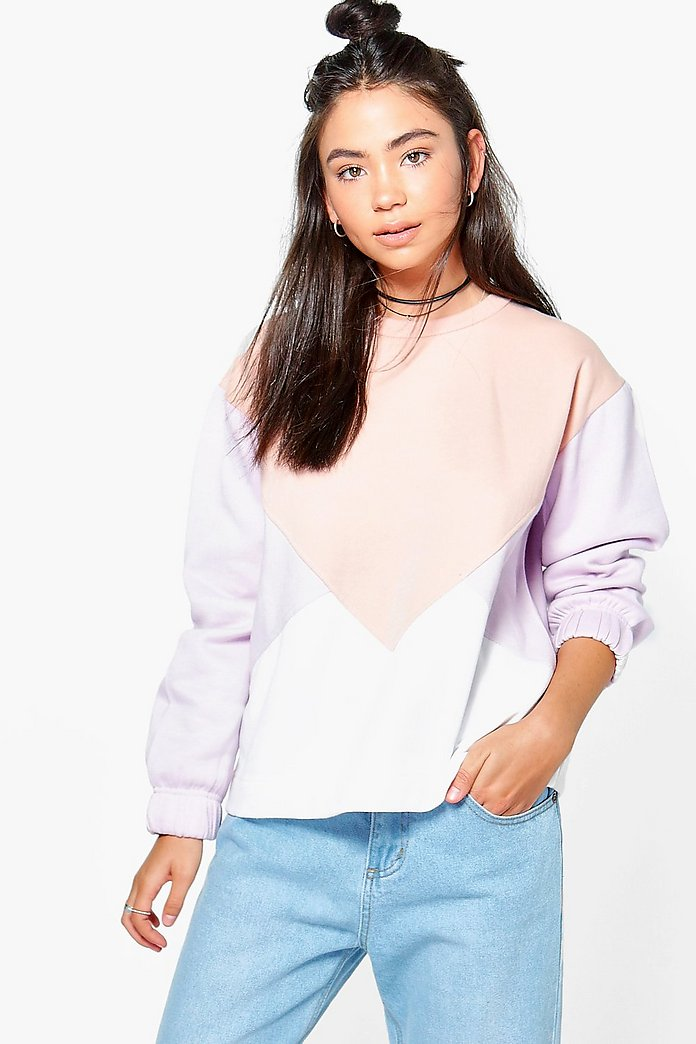 Alexis Colour Block Full Sleeve Sweater