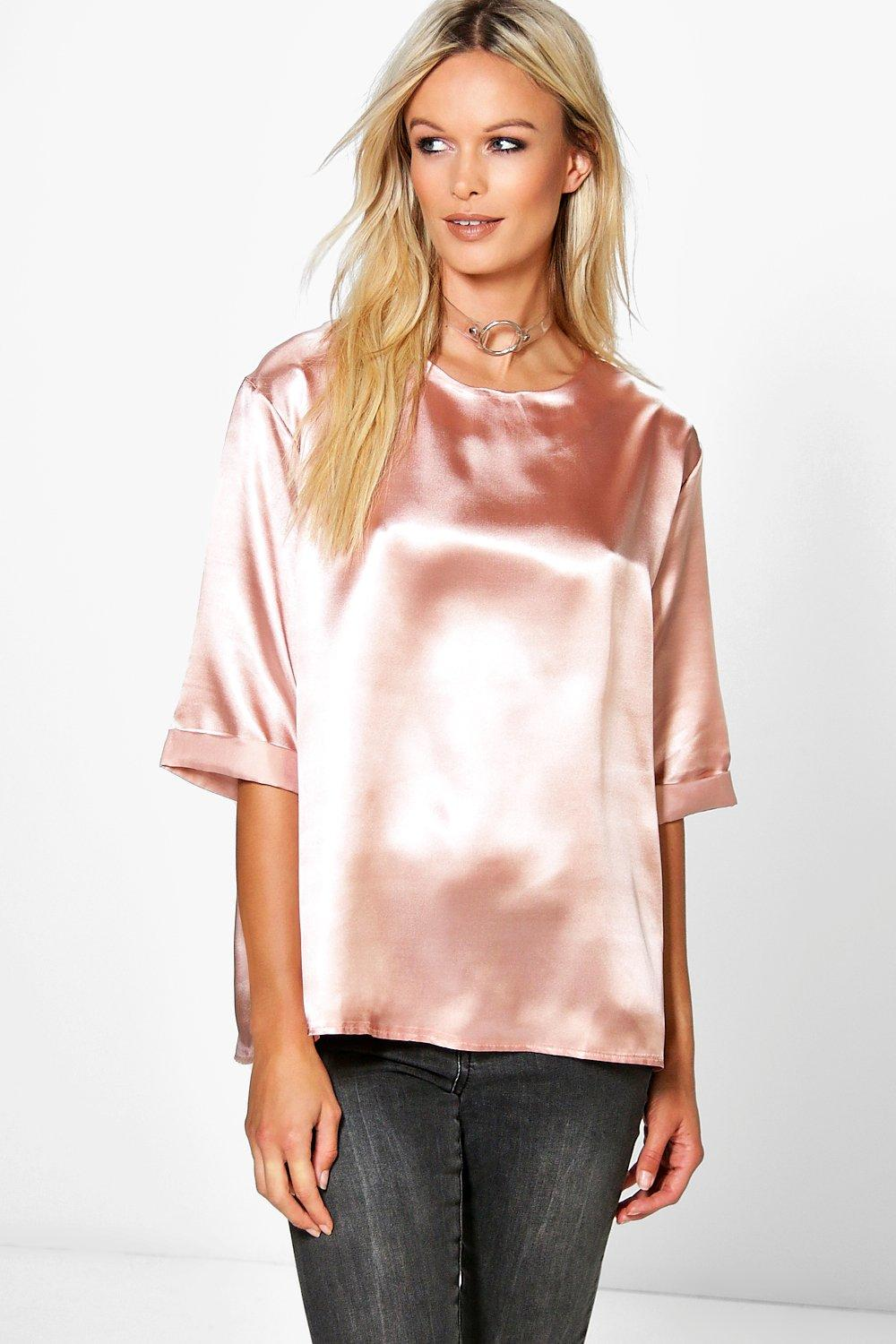 Poppy Boutique Oversized Side Spilt Satin T-Shirt