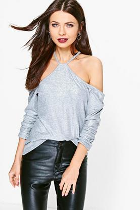 Amber Metallic Long Sleeve Cold Shoulder Top