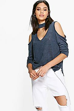 Katy Cold Shoulder Knitted Choker T-Shirt