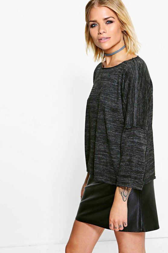 Cleo Raw Edge Knitted Marl Sweat