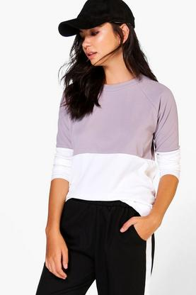 Zoe Ribbed Colourblock Raglan T-Shirt