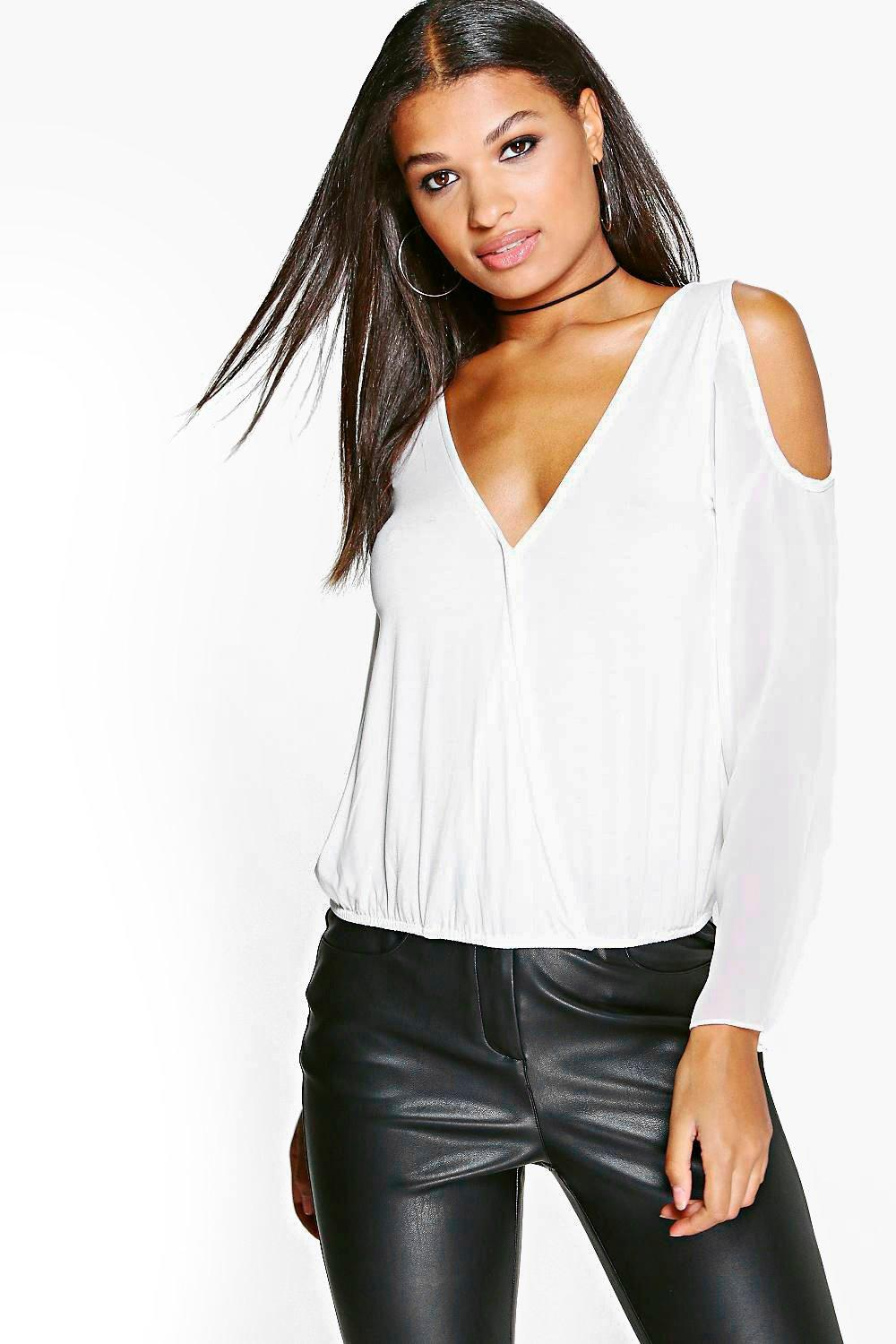 Faith Cold Shoulder Mesh Sleeve Top