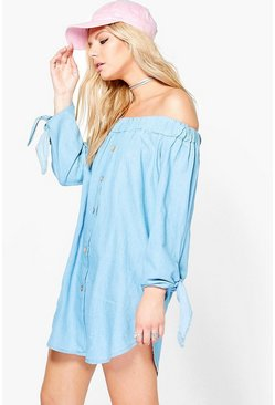 Beth Off The Shoulder Denim Dress