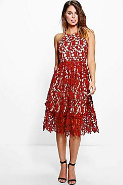 Boutique Ria Strappy Lace Midi Skater Dress