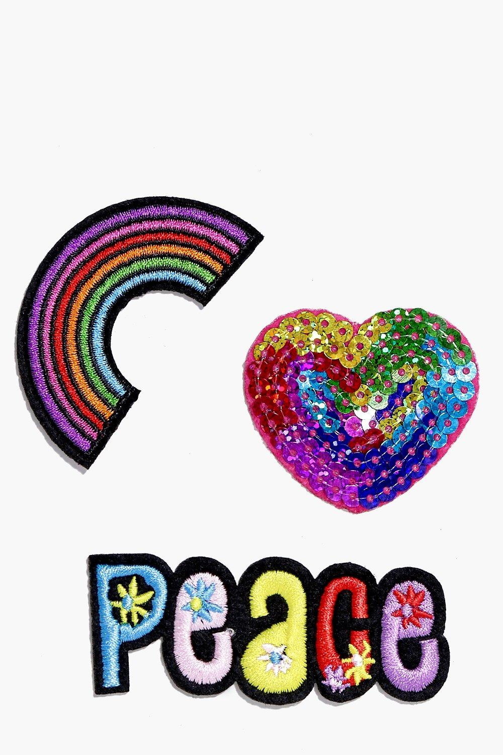 Peace Rainbow Heart Badge Patch Set
