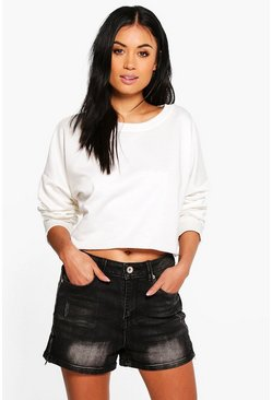 Lisa Marie Denim Mom Shorts With Zips