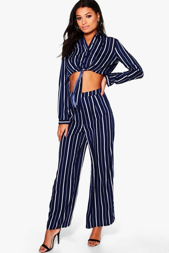 Sophia Woven Stripe Tie Crop & Trouser Co-Ord