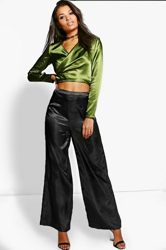 Grace Satin Wrap Top & Wide Leg Trouser Co-Ord