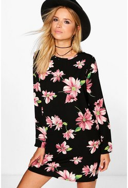 Flossie Long Sleeved Floral Shift Dress