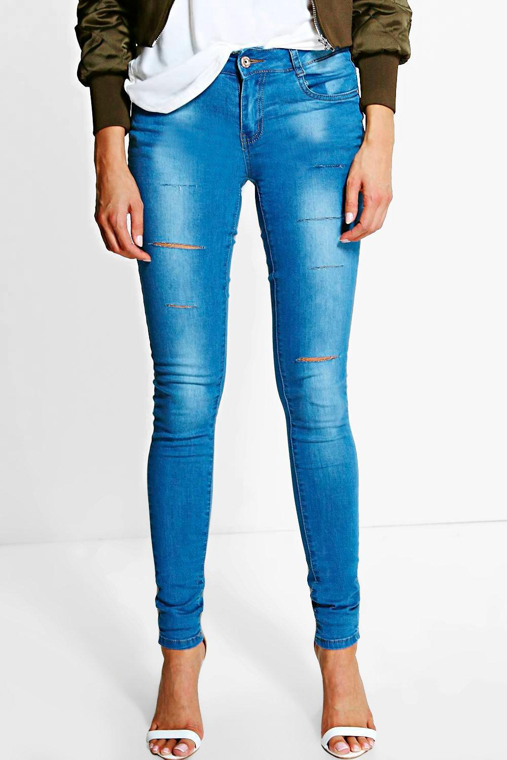 Low Rise Cloudy Wash Knee Rip Jeans mid blue