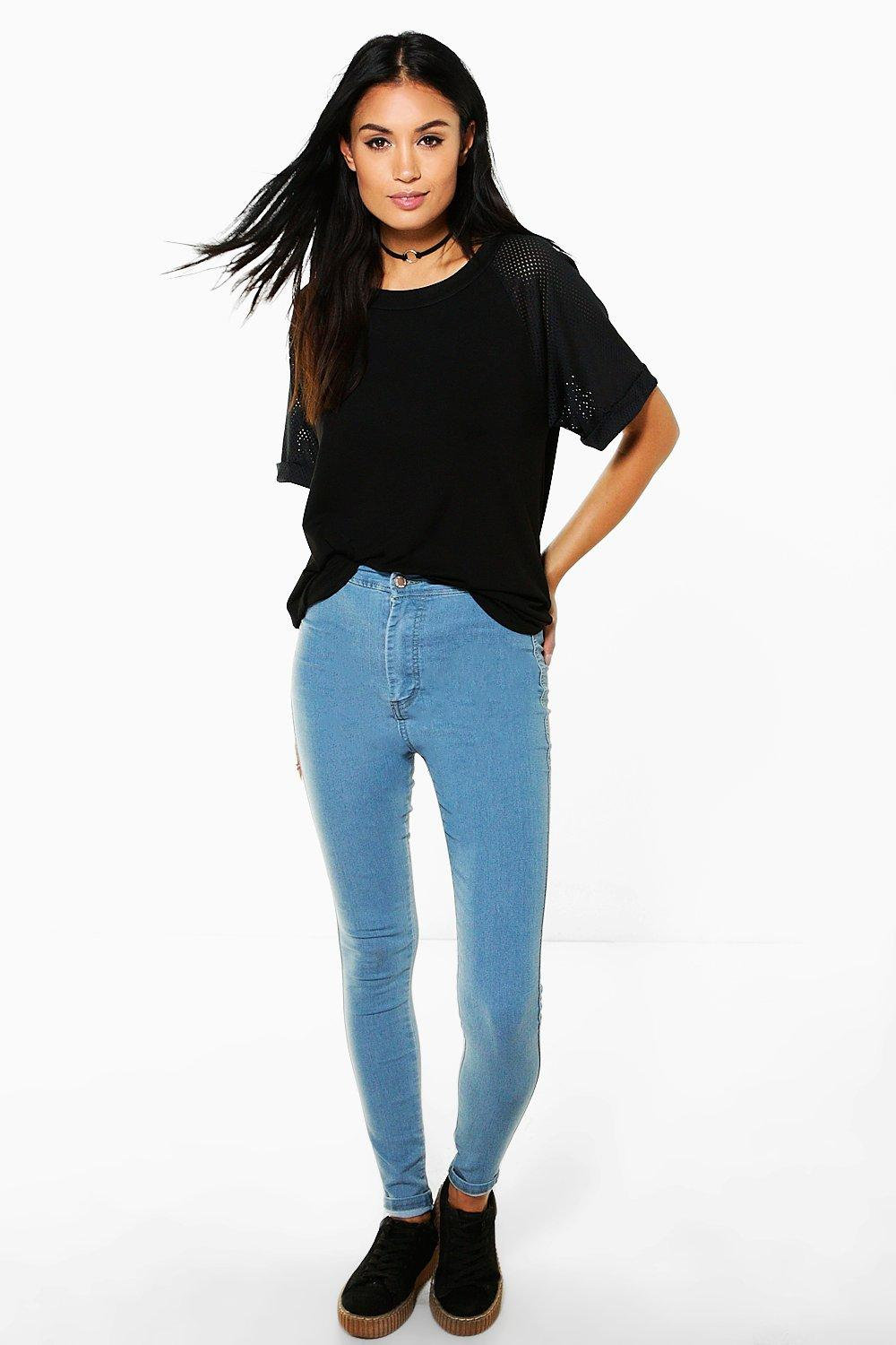 Lara High Rise Powder Blue Tube Jeans