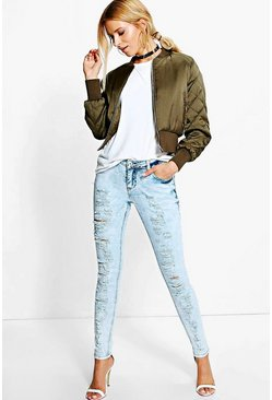Iva Low Rise Cloudy Wash Ripped Skinny Jeans