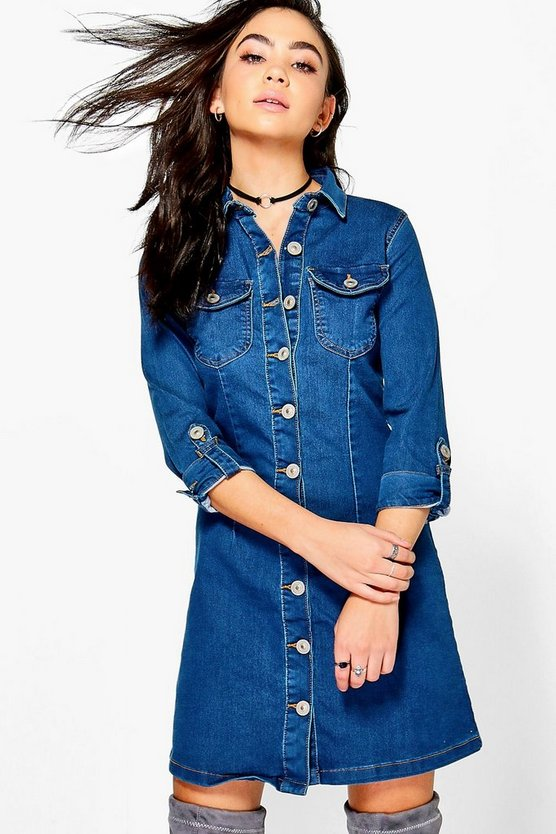 Inga 3/4 Sleeve Denim button Through Dress