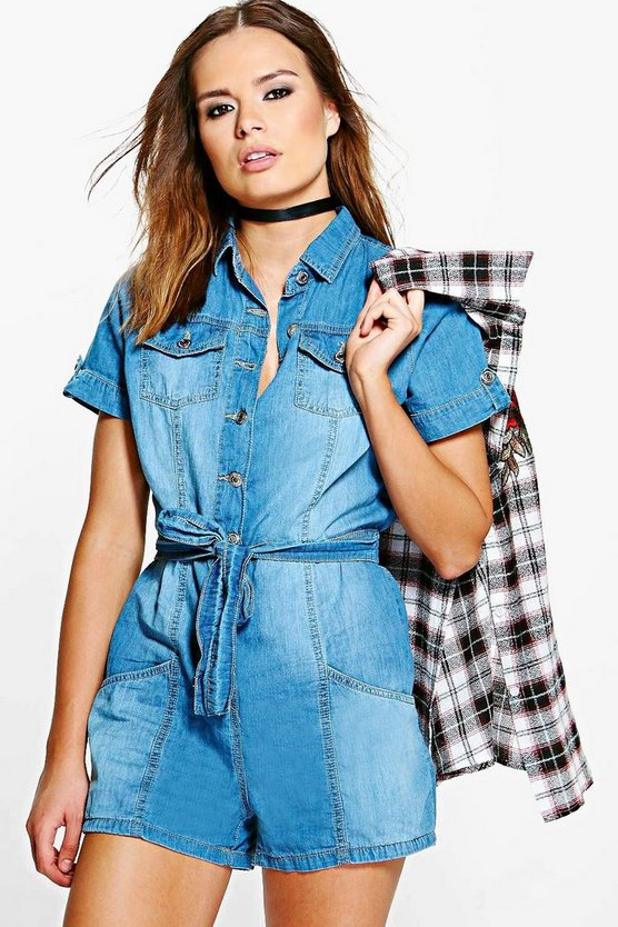 Luna Utility Style Denim Playsuit