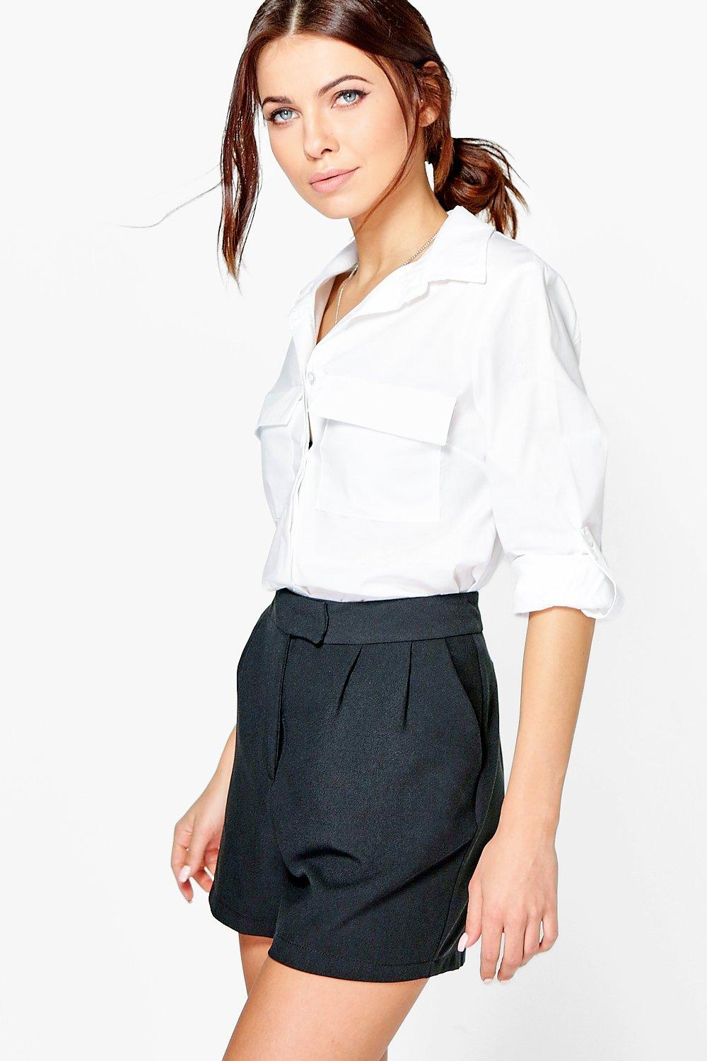 Maisie Crop Cotton Shirt With Pocket