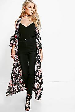 Faye Cold Shoulder Maxi Floral Kimono