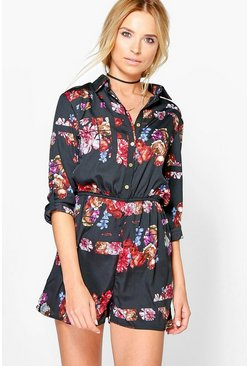 Lola Dark Floral Shirt Style Playsuit