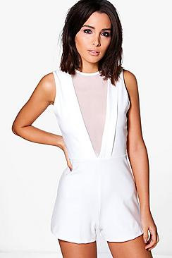 Marlin Mesh Deep Plunge Playsuit