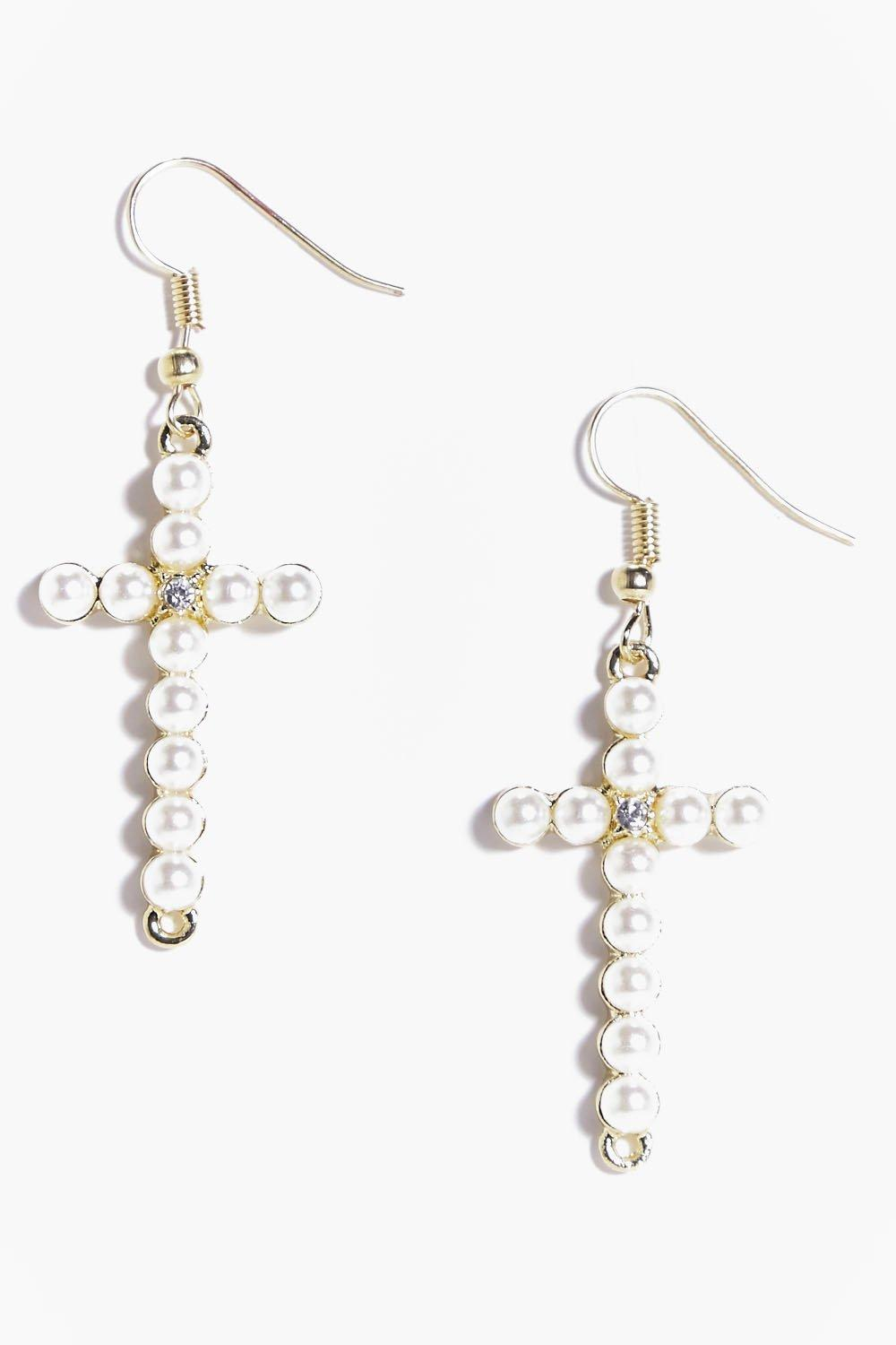 Neve Pearl Cross Earrings