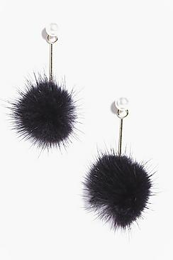 Violet Faux Fur Pom Earrings