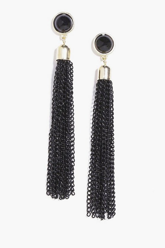 Betsy Chain Tassel Statement Earrings