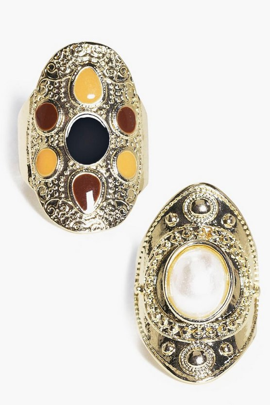 Kara Stone Set Antique Ring Pack
