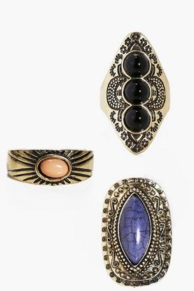 Mae Stone Detail Vintage Eastern Ring Pack